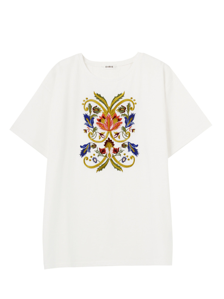 GOTHIC EMBROIDERY Tシャツ(ホワイト-F)