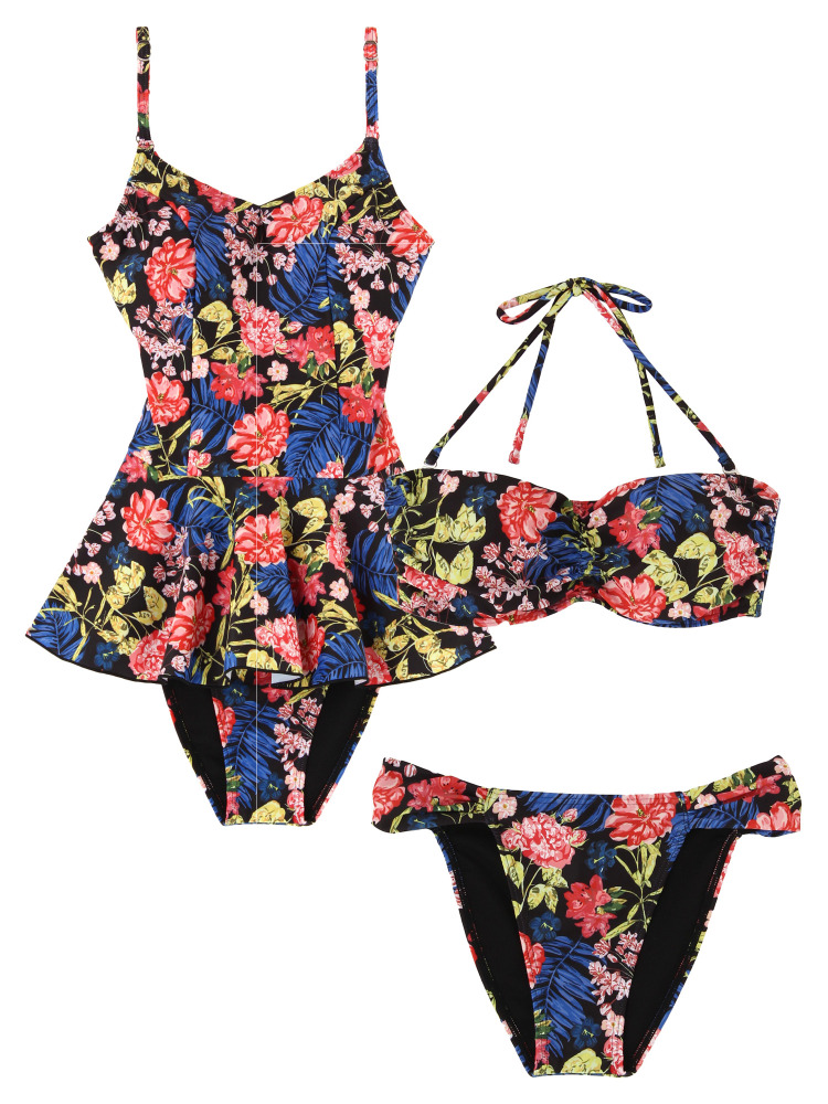 Retro Botanical Flower ワンピースSET Swim wear(ブラック-F)