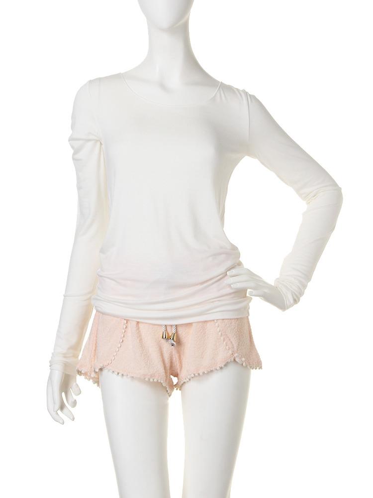 UネックロングTシャツ(オフホワイト-F)