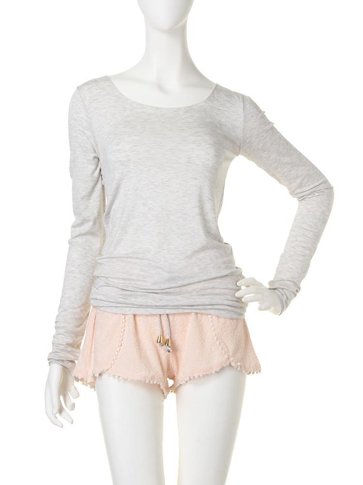 UネックロングTシャツ(ライトグレー-F)