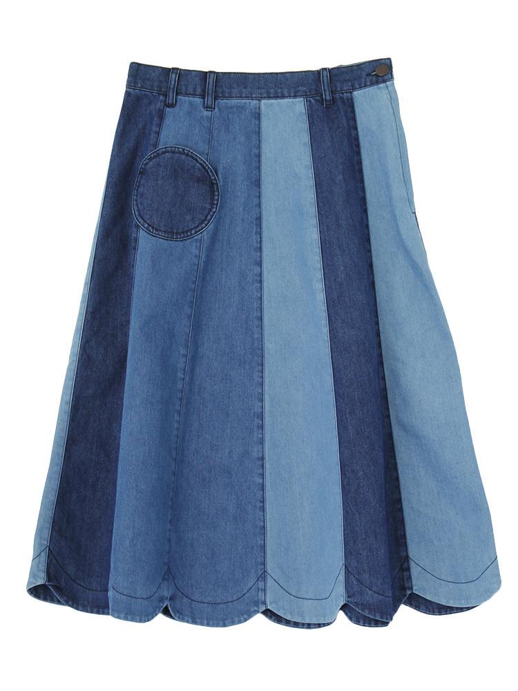 merry jennyの【RC限定アイテム】パッチワークデニムスカート